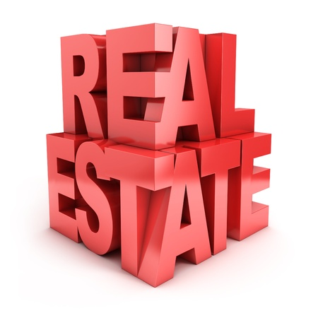 real estate industry: real estate 3d letters Stock Photo