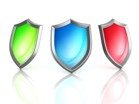 antivirus: set of shields 3d illustration