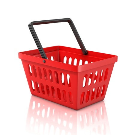 plastic box: shopping basket isolated on white background