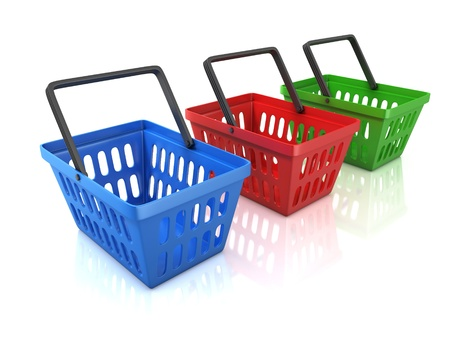colorful shopping baskets isolated on white background Stock Photo - 19776318