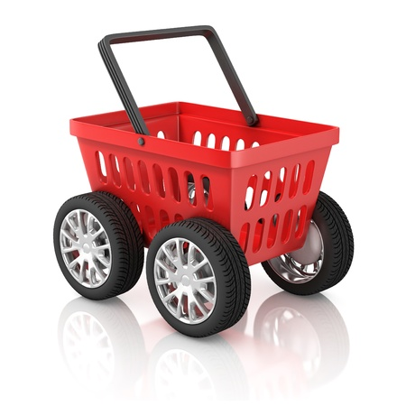 e commerce icon: shopping basket on wheels 3d illustration