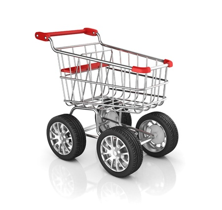 trolley: shopping cart with car wheels