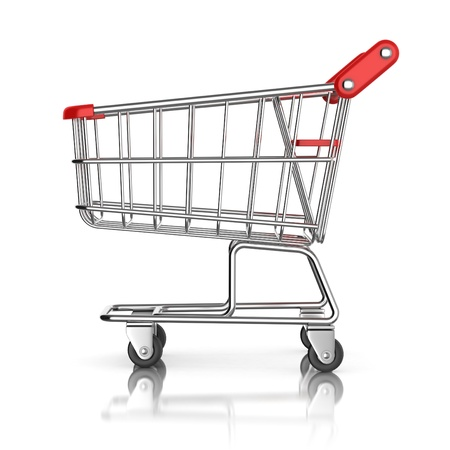 chrome cart: shopping cart 3d icon Stock Photo
