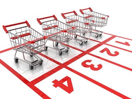 cart icon: shopping cart race - sale 3d concept