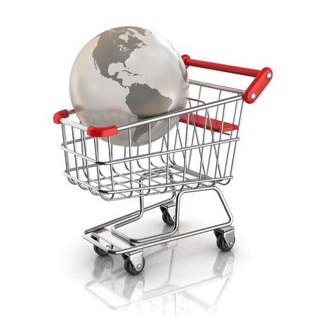 Purchase Order: concepto de mercado mundial - globo dentro de carrito de la compra