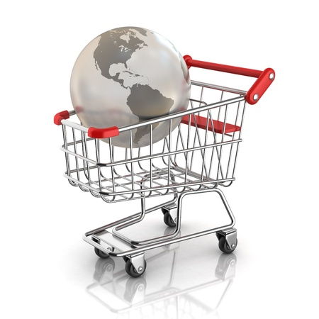 online trading: global market concept - globe inside shopping cart