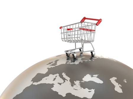 online trading: Shopping cart on top of the world