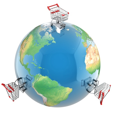 consumerism: Shopping carts over the globe, global market concept