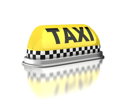 yellow cab: Taxi sign on white background Stock Photo