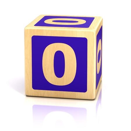 number zero wooden blocks font