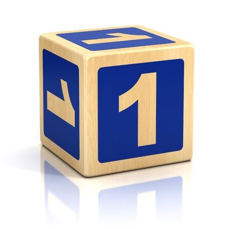 number one: n�mero uno 1 fuente de bloques de madera Foto de archivo