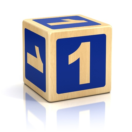 number one 1 wooden blocks font Stock Photo