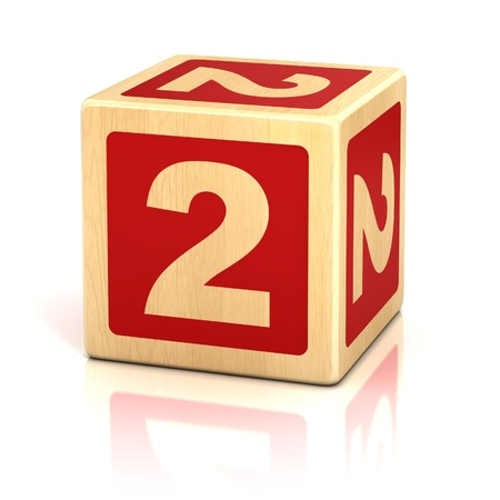 two children: number two 2 wooden blocks font