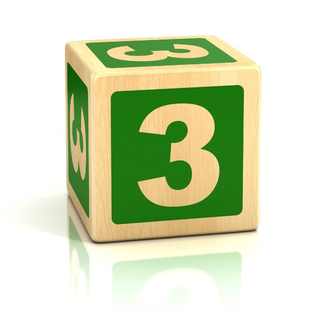 number three 3 wooden blocks font photo