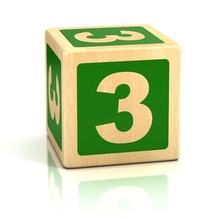 number three 3 wooden blocks font