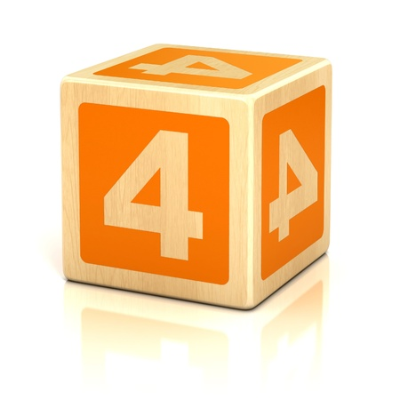 wood block: number four 4 wooden blocks font