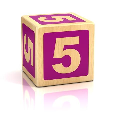 number five 5 wooden blocks font