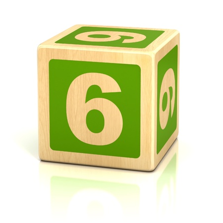 number six 6 wooden blocks font photo
