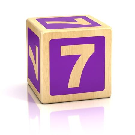 seven: number seven 7 wooden blocks font Stock Photo