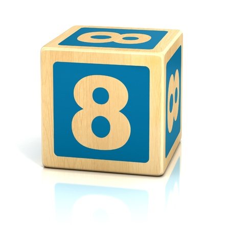 number eight 8 wooden blocks font photo