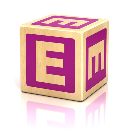 wood block: letter e alphabet cubes font Stock Photo