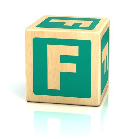 wooden block letter: letter f alphabet cubes font