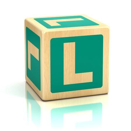 wooden blocks: letter L alphabet cubes font Stock Photo