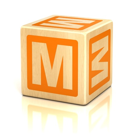 block letters: letter m alphabet cubes font Stock Photo
