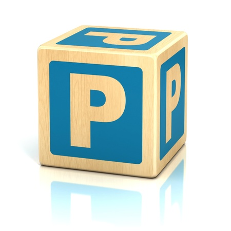 abstract 3d blocks: letter p alphabet cubes font