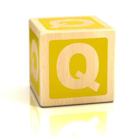 letter q: letter q alphabet cubes font Stock Photo