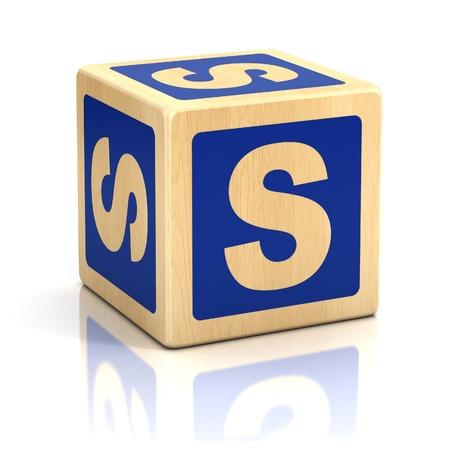child s block: letter s alphabet cubes font