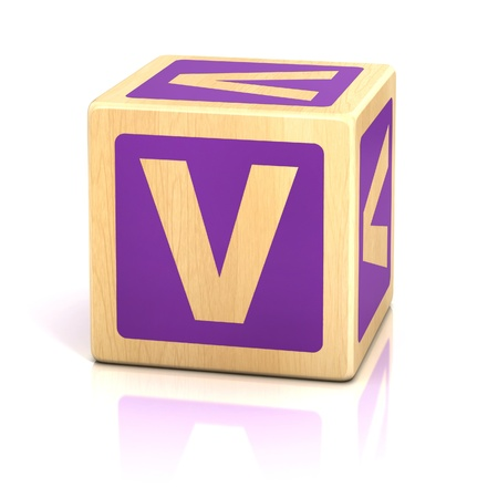 abstract 3d blocks: letter v alphabet cubes font