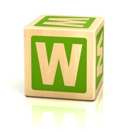 wooden blocks: letter w alphabet cubes font Stock Photo