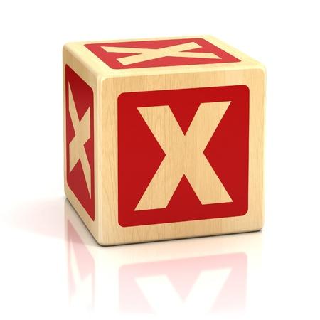 game block: letter x alphabet cubes font