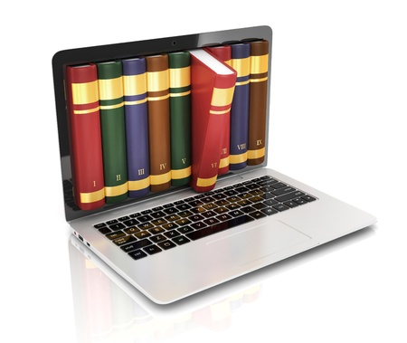 digital book: book 3d concept - book instead of display on the notebook, laptop Stock Photo