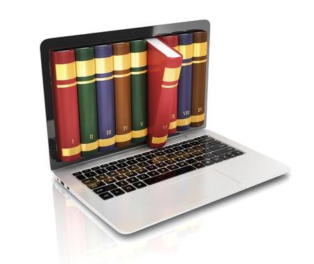 biblioteca: Libro 3d concepto - libro en lugar de la pantalla del ordenador port�til, ordenador port�til Foto de archivo