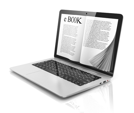 technology symbols metaphors: e-book 3d concept - book instead of display on the notebook, laptop