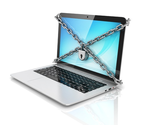 lock and chain: data security - laptop with padlock