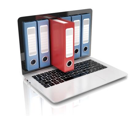bestand in de database - laptop met ringmappen