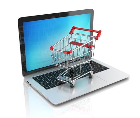 ultrabook: online shopping 3d concept Stock Photo