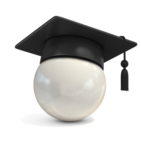 graduation hat: white ball with graduation cap