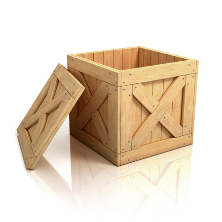 delivery box: open wooden crate Stock Photo