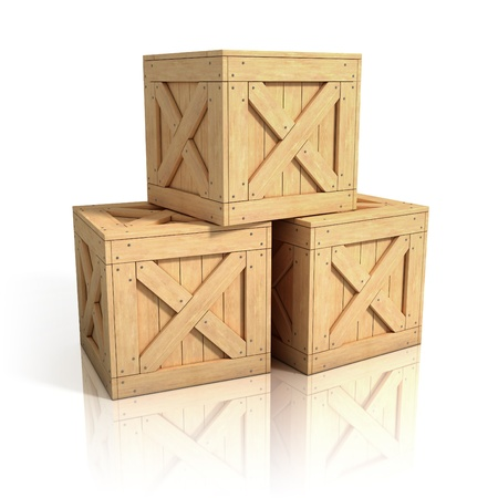 wooden crates isolated photo