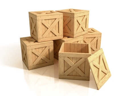 ship package: wooden crates isolated Stock Photo