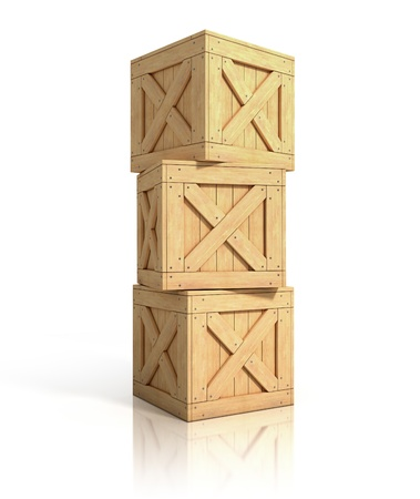 mail box: wooden crates isolated Stock Photo