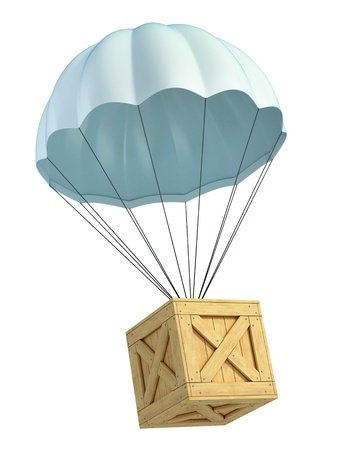 wooden crate with parachute