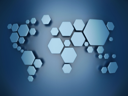 world economy: abstract simplified world map made of hexagons