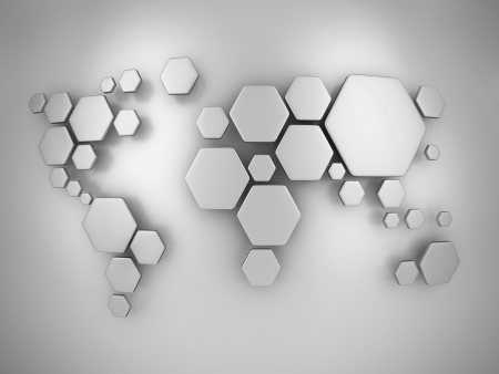 simplified: abstract simplified world map made of hexagons