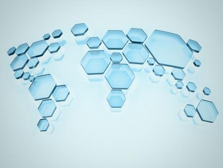 geografia: resumen simplificado mapa del mundo hecho de hexágonos