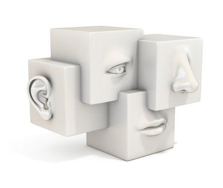 추상적 인 인간의 얼굴을 3 차원 그림